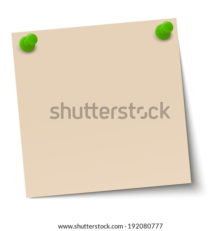Memo / note with pin needle - stock vector