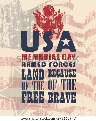 Memorial day greeting card. Poster with US flag - stock vector