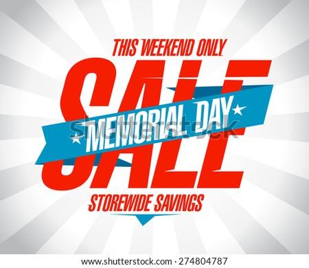 Memorial day sale banner - stock vector