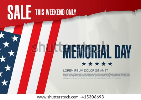 Memorial day sale banner template design - stock vector