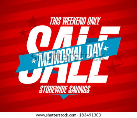 Memorial day sale design template. - stock vector