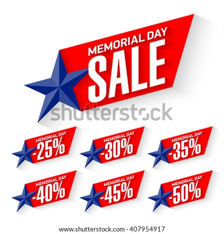 Memorial Day Sale discount labels vector illustration - stock vector