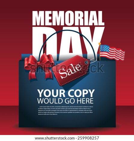 Memorial Day Sale shopping bag Background EPS 10 vector royalty free stock illustration for greeting card, ad, promotion, poster, flier, blog, article, social media, marketing - stock vector