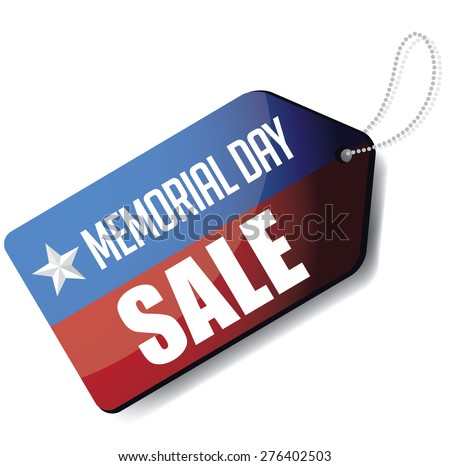 Memorial Day sale tag EPS 10 vector royalty free stock illustration for greeting card, ad, promotion, poster, flier, blog, article, social media, marketing - stock vector