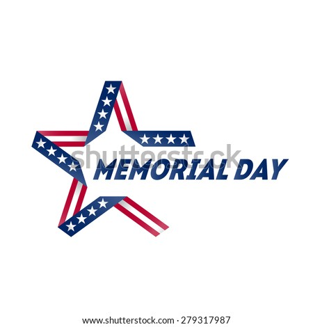 Memorial Day star made of ribbon in national flag colors and symbols. Vector illustration. - stock vector