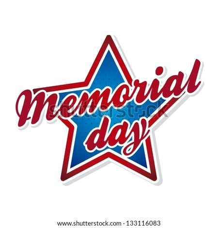 memorial day symbol over white background. vector illustration - stock vector