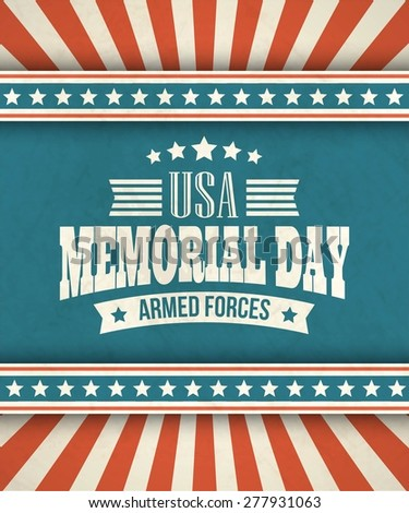 Memorial Day. Typographic card with the American flag. Vector illustration EPS 10. - stock vector