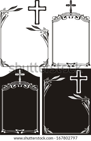 memorial plaque or obituary - art deco frames with cross - stock vector