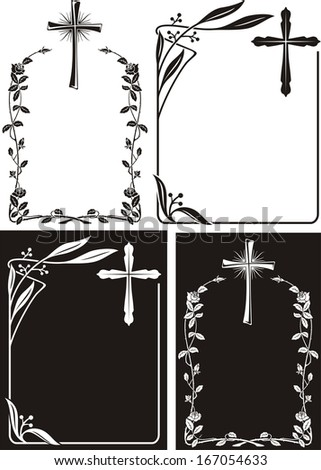 memorial plaque or obituary notice - black and white art deco frames and borders  - stock vector
