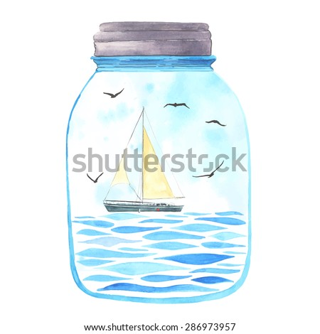 Memories in a jar. Watercolor sea, sailboat and seagulls  inside.  All object made in vector. Each one is separately. - stock vector