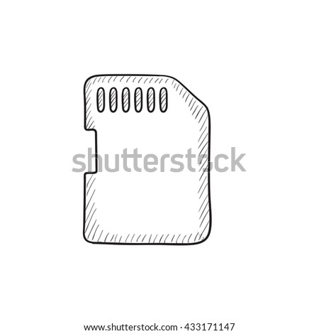 Memory card vector sketch icon isolated on background. Hand drawn Memory card icon. Memory card sketch icon for infographic, website or app. - stock vector
