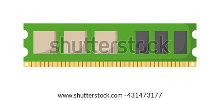 Memory module slot isolated and Memory slot vector icon. Memory slot part of PC memory module and memory slot computer slot chip motherboard circuit electronic card. Hardware component chip. - stock vector