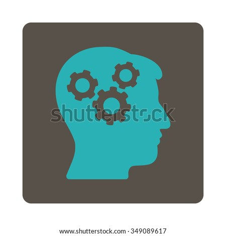 Memory vector icon. Style is flat rounded square button, cyan and grey colors, white background. - stock vector