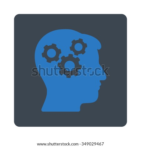 Memory vector icon. Style is flat rounded square button, smooth blue colors, white background. - stock vector