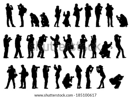 Men and woman with a photo camera - stock vector
