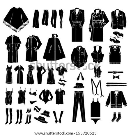 men and women clothes, shoes and accessories vector - stock vector