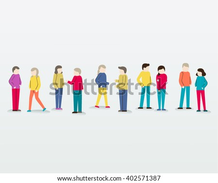 Men and Women Gather Together People Icon Vector Design - stock vector