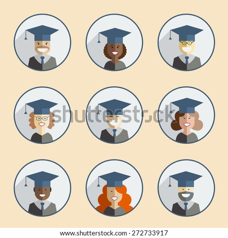 Men and women graduates in gown and hats. Graduation icon set in flat style. Back to school, university or college students and pupils of the world. Educational concept people - stock vector