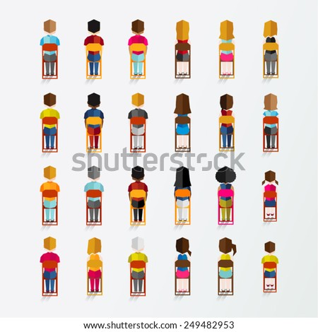 Men and Women People In Back Sitting View Vector Illustration - stock vector