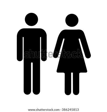 Men and women silhouette, black simple icons isolated on white - stock vector