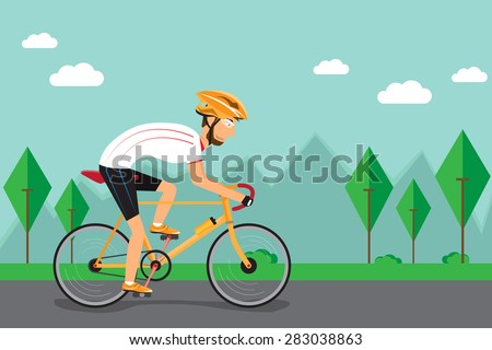Men are cycling on the road. vector illustration. - stock vector