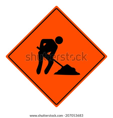 Men at work vector sign illustration - stock vector
