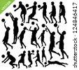 Men beach volleyball silhouettes vector - stock vector