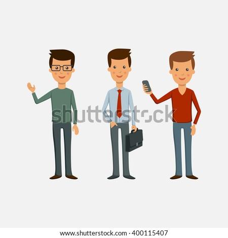 Men business. Three men on a light background - stock vector