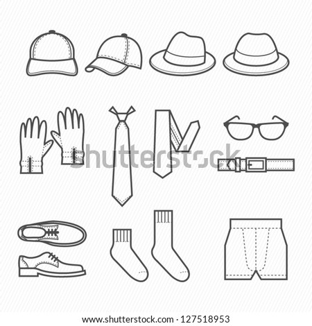 Men Clothing Icons with White Background : NO.2 - stock vector
