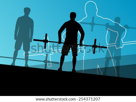 Men crossfit weight lifting sport silhouettes abstract background illustration vector - stock vector