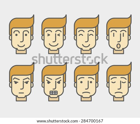 Men face with different expressions and colored hair in front view.  A contemporary style. Vector flat design illustration with isolated white background. Horizontal layout - stock vector