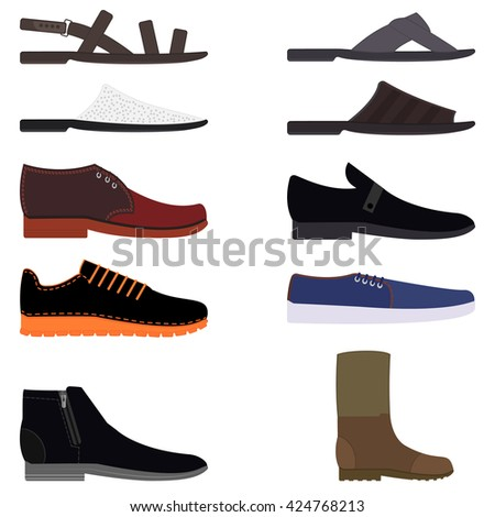 Men footwear. Men's footwear. A set of fashionable men's shoes. Men shoes. Men's shoes. Slippers, shales, boots, step-ins, loafer, wellingtons, sneakers, sandals. Men shoes vector icons. - stock vector