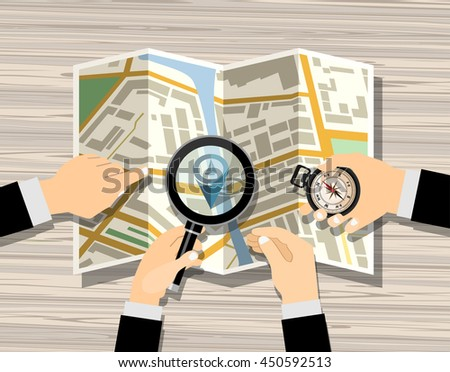 Men hand hold Navigation map and magnifier. Flat design style. - stock vector