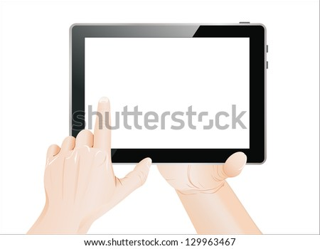 Men hand point on blank tablet pc. Isolated on white. - stock vector