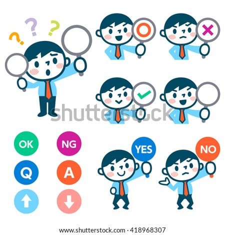 Men have a plate of sign to answer correct or incorrect - stock vector