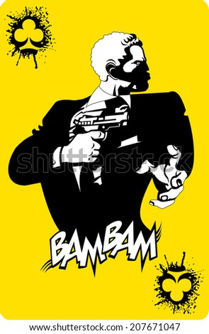 men in black suits with a weapon, vector and illustration - stock vector