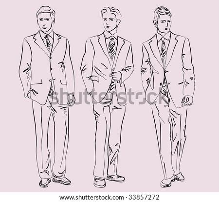 men in business suits, vector - stock vector