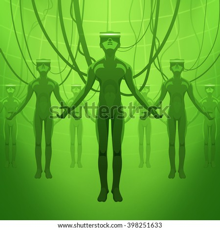 Men in the virtual reality headsets - stock vector