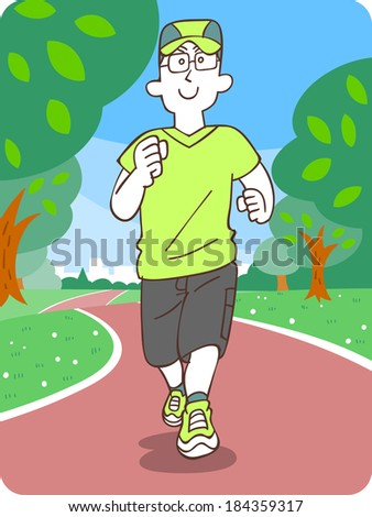 Men jogging - stock vector