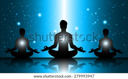 men meditate, yoga. on blue sky background. star - stock vector