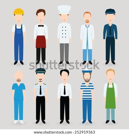 men profession - stock vector