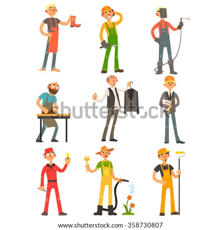 Men Profession, people with their working tools Colourful Vector Illustration Set - stock vector