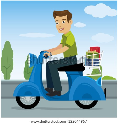 men riding motorcycles - stock vector