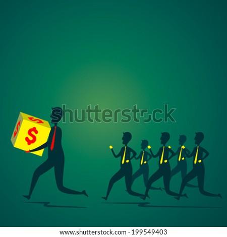 men run with money box other member follow to catch the money box concept vector - stock vector