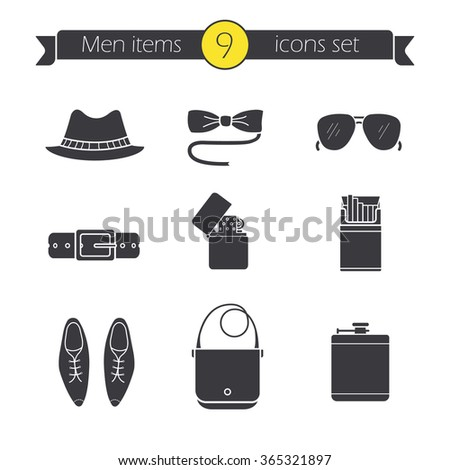 Men's accessories classic silhouette icons set. Hipster tuxedo butterfly tie and sunglasses. Homburg hat, leather belt, male shoes and handbag symbols. Vector logo concepts - stock vector