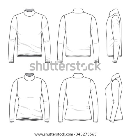 Men's and women's clothing set. Front, back and side views of blank tee. Casual style. Vector templates for your fashion design. Isolated on white. - stock vector