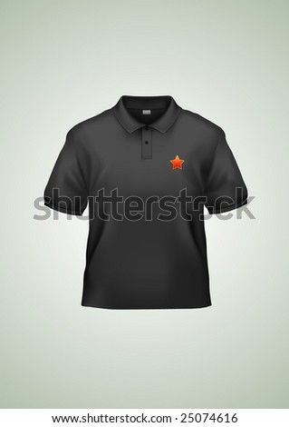 Men's black polo shirt design template (contains gradient mesh elements). Very accurate and detailed. - stock vector