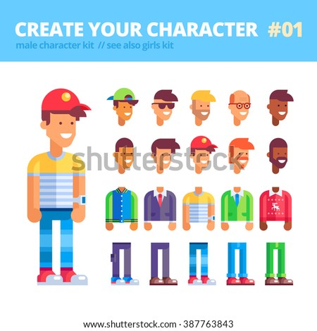 Men's character creation kit. Set of replaceable parts for creating your unique feminine character: 10 heads, 5 bodies, 5 couples of legs and 3 tones of skin. See also girls kit. Vector illustration.  - stock vector