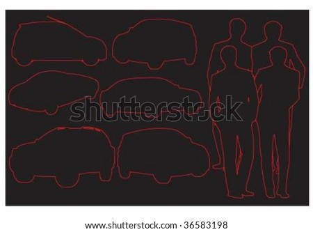 Men's charm.Cars (2) - stock vector