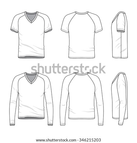 Men's clothing set. Front, back and side views of blank v-neck t-shirt and tee. Casual style. Vector templates for your fashion design. Isolated on white. - stock vector